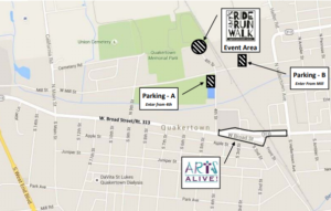 Amy's RideRunWalk Parking Map - 2020